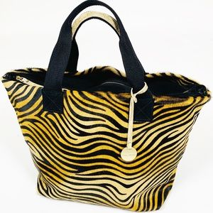 PULICATI Made in Italy Calf Hair Zebra Large Tote